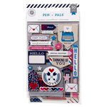 Pink Paislee - Pen Pals Collection - Chipboard Stickers