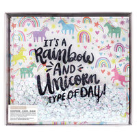 K and Company - 12 x 12 Scrapbook Album with Sequin and Glitter Accents - Rainbow and Unicorn