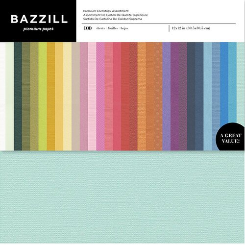 Bazzill Basics - 12 x 12 Cardstock - Extra Value Pack - Assorted Colors