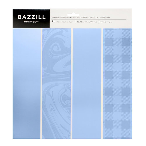 Bazzill Basics - 12 x 12 Cardstock Pack - Serenity Blue - 12 Pack