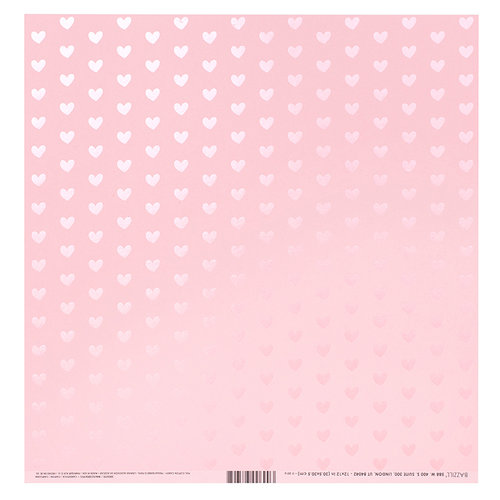 Bazzill Basics - 12 x 12 Paper with Foil Accents - Heart - Cotton Candy
