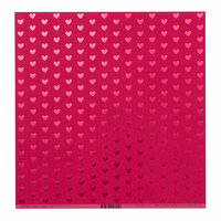 Bazzill Basics - 12 x 12 Paper with Foil Accents - Heart - Lollipop