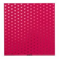 Bazzill Basics - 12 x 12 Cardstock - Heart Foil Accents - Lollipop