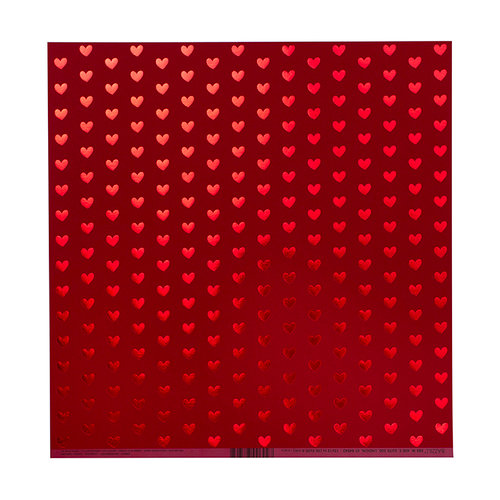 Bazzill Basics - 12 x 12 Paper with Foil Accents - Heart - Red Hots