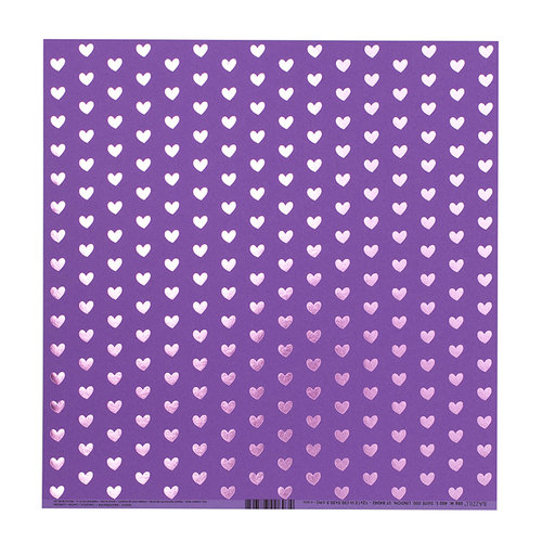 Bazzill Basics - 12 x 12 Paper with Foil Accents - Heart - Gummy Bear