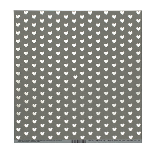 Bazzill Basics - 12 x 12 Paper with Foil Accents - Heart - Rock Candy