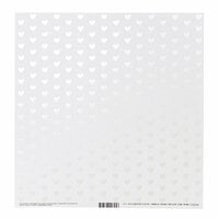 Bazzill Basics - 12 x 12 Paper with Foil Accents - Heart - Marshmallow