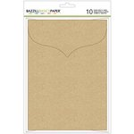Bazzill Basics - Cards and Envelopes - 5 x 7 - Kraft - Scalloped