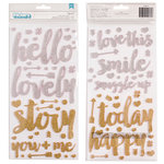 Pink Paislee - Cedar Lane Collection - Thickers - Glitter - Foam - Phrases - White and Gold