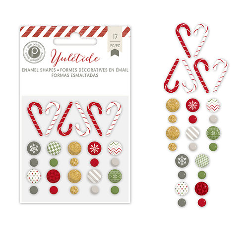 Pink Paislee - Yuletide Collection - Christmas - Glitter Enamel Shapes