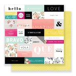 Pink Paislee - C'est La Vie Collection - 12 x 12 Double Sided Paper - Paper 01
