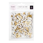 Pink Paislee - C'est La Vie Collection - Printed Chipboard Alphabet