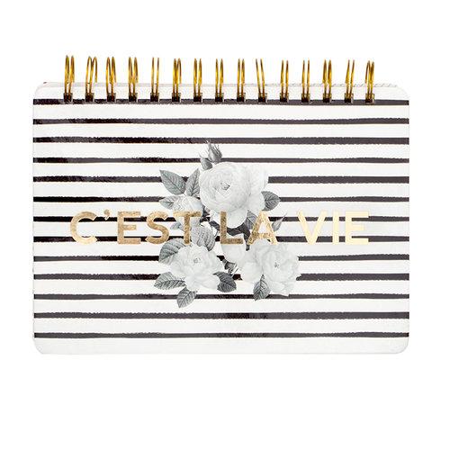 Pink Paislee - C'est La Vie Collection - 6 x 8 Spiral Notebook