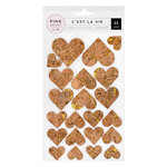 Pink Paislee - C'est La Vie Collection - Cork Stickers with Glitter Accents - Hearts