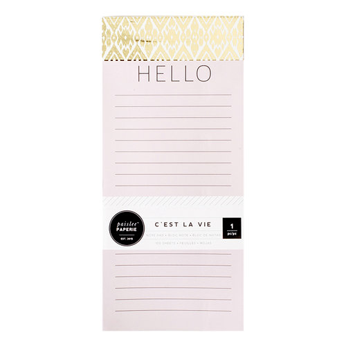 Pink Paislee - Paislee Paperie Collection - Notepad with Foil Accents - Hello