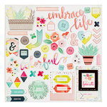 Pink Paislee - Fancy Free Collection - 12 x 12 Chipboard Stickers with Foil Accents