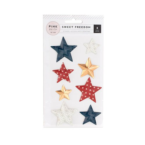 Pink Paislee - Sweet Freedom Collection - Cardstock Stickers - 3 Dimensional Star with Foil Accents