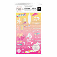 Pink Paislee - Summer Lights Collection - Cardstock Stickers with Foil Accents - Word Jumble