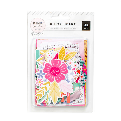 Pink Paislee - Oh My Heart Collection - Ephemera with Foil Accents