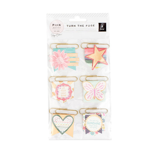 Pink Paislee - Turn The Page Collection - Flag Paper Clips