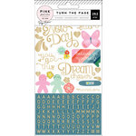 Pink Paislee - Turn The Page Collection - Cardstock Stickers with Foil Accents - Alpha Phrase