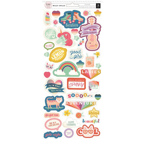 Pink Paislee - Wild Child Collection - Cardstock Stickers with Foil Accents - Girl
