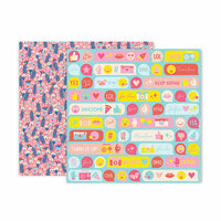 Pink Paislee - Pick Me Up Collection - 12 x 12 Double Sided Paper - Paper 8
