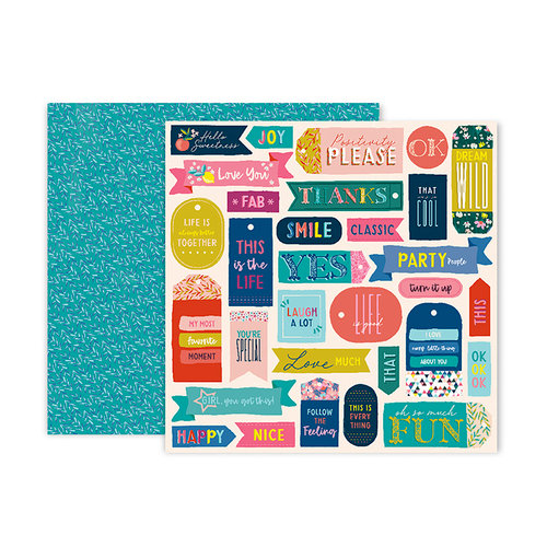 Pink Paislee - Pick Me Up Collection - 12 x 12 Double Sided Paper - Paper 13