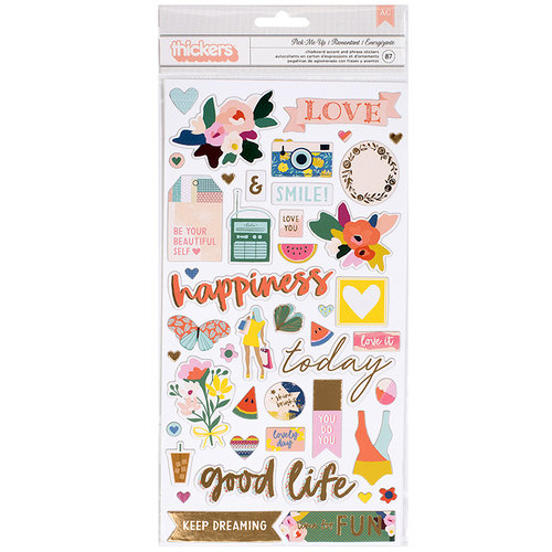Paige Evans - Pick Me Up Collection - Thickers - Printed Chipboard - Foil - Icons