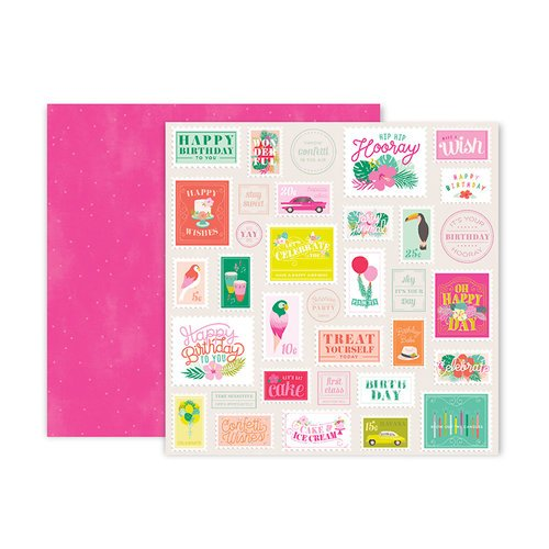 Pink Paislee - Confetti Wishes Collection - 12 x 12 Double Sided Paper - Paper 6