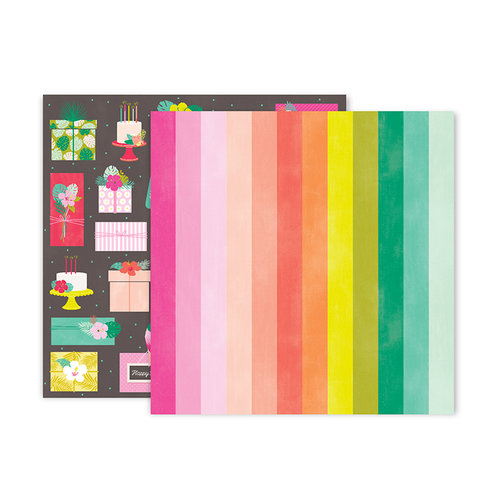 Pink Paislee - Confetti Wishes Collection - 12 x 12 Double Sided Paper - Paper 7