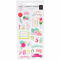 Pink Paislee - Confetti Wishes Collection - Puffy Stickers