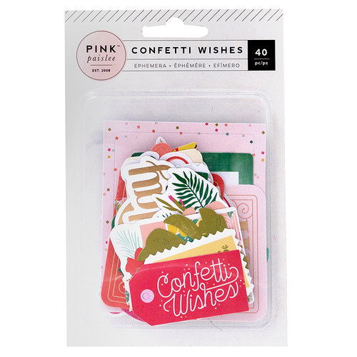 Pink Paislee - Confetti Wishes Collection - Ephemera with Foil Accents