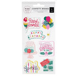 Pink Paislee - Confetti Wishes Collection - Embossed Stickers