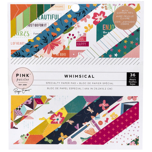 Pink Paislee - Whimsical Collection - 6 x 6 Paper Pad with Foil Accents