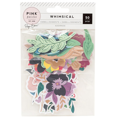 Pink Paislee - Whimsical Collection - Die Cut Cardstock Pieces with Foil Accents - Floral