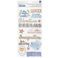 Pink Paislee - Little Adventurer Collection - Thickers - Chipboard - Rose Gold Glitter - Phrase and Icons - Boy