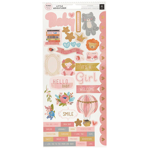 Pink Paislee - Little Adventurer Collection - Cardstock Stickers with Foil Accents - Girl