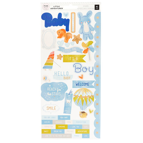 Pink Paislee - Little Adventurer Collection - Cardstock Stickers with Foil Accents - Boy