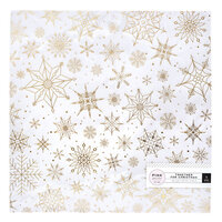 Pink Paislee - Together For Christmas Collection - 12 x 12 Vellum - Snow Flakes with Foil Accents