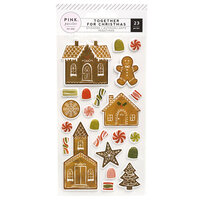 Pink Paislee - Together For Christmas Collection - Puffy Stickers - Gingerbread