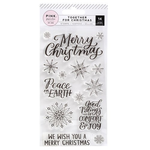Pink Paislee - Together For Christmas Collection - Clear Acrylic Stamps - Snowflakes and Words
