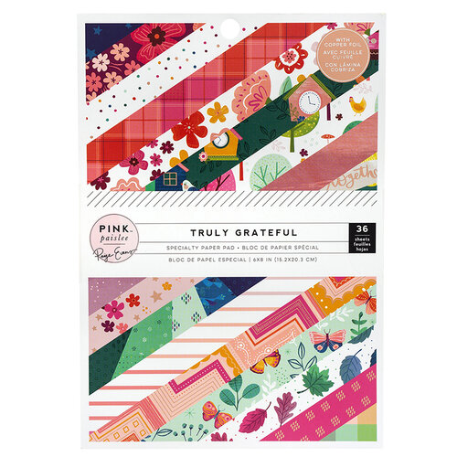 Pink Paislee - Truly Grateful Collection - 6 x 8 Paper Pad with Matte Copper Foil Accents