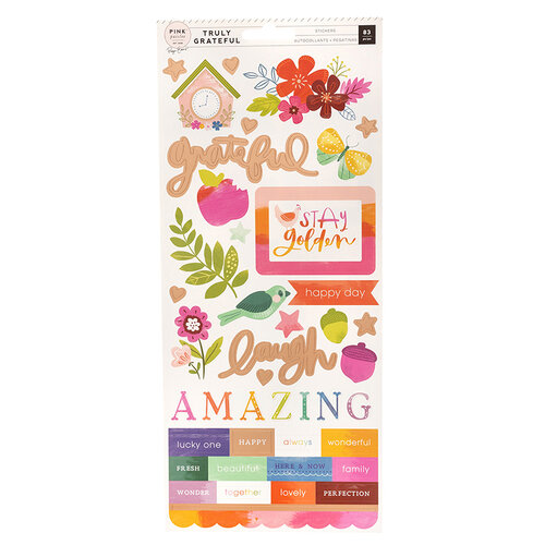 Pink Paislee - Truly Grateful Collection - Cardstock Stickers with Matte Copper Foil Accents
