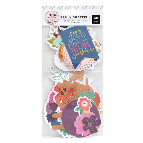 Pink Paislee - Truly Grateful Collection - Ephemera Pack with Matte Copper Foil Accents
