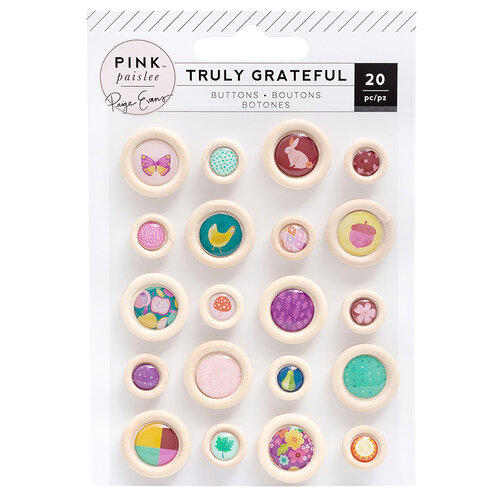 Pink Paislee - Truly Grateful Collection - Self Adhesive Epoxy Wood Buttons
