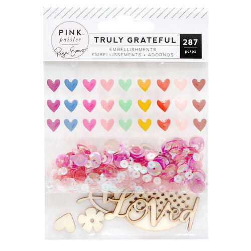 Pink Paislee - Truly Grateful Collection - Sparkle Kit - Enamel Wood Shapes and Sequins
