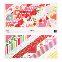 Pink Paislee - Lucky Us Collection - 12 x 12 Paper Pad with Iridescent Foil Accents