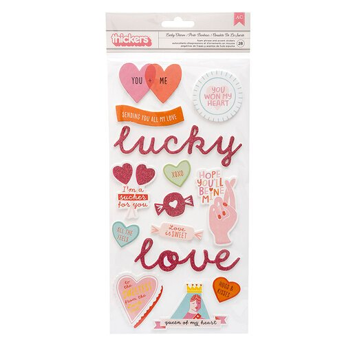 Pink Paislee - Lucky Us Collection - Thickers - Lucky Charm - Phrase - Chipboard - Pink Glitter