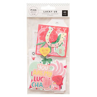 Pink Paislee - Lucky Us Collection - Ephemera with Iridescent Foil and Pink Glitter Accents